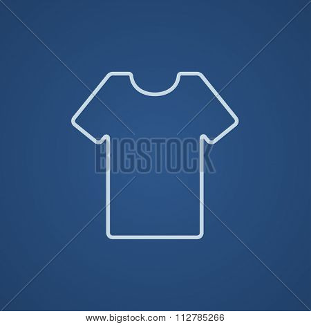 T-shirt line icon for web, mobile and infographics. Vector light blue icon isolated on blue background.