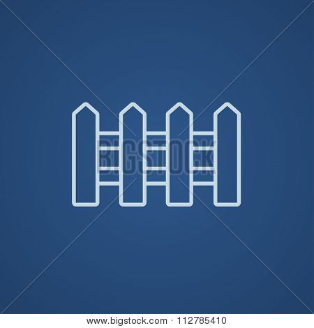 Fence line icon for web, mobile and infographics. Vector light blue icon isolated on blue background.