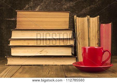 Red Mug On Wood