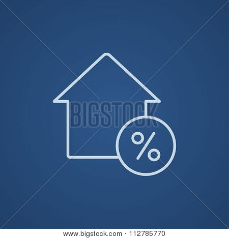 House with discount tag line icon for web, mobile and infographics. Vector light blue icon isolated on blue background.