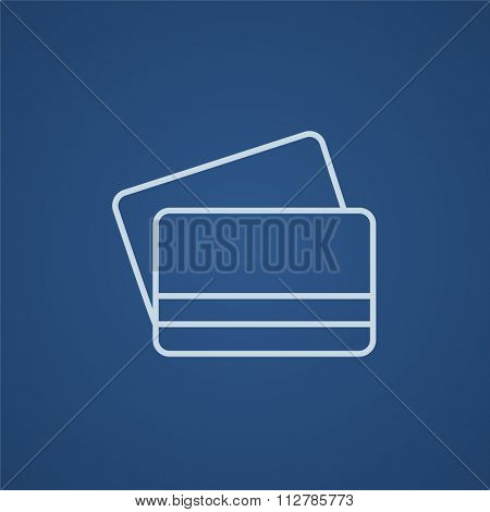 Credit cards line icon for web, mobile and infographics. Vector light blue icon isolated on blue background.