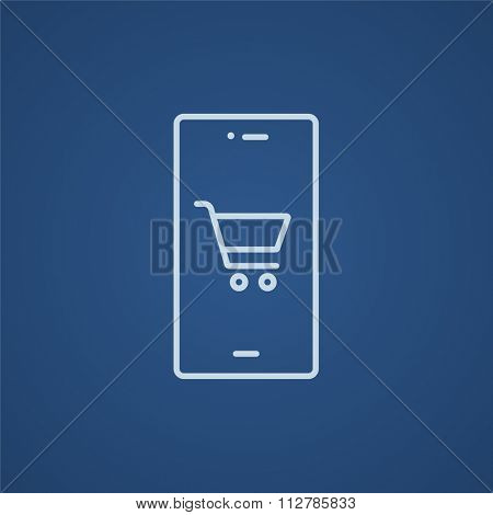 Mobile phone with shopping cart on a screen line icon for web, mobile and infographics. Vector light blue icon isolated on blue background.