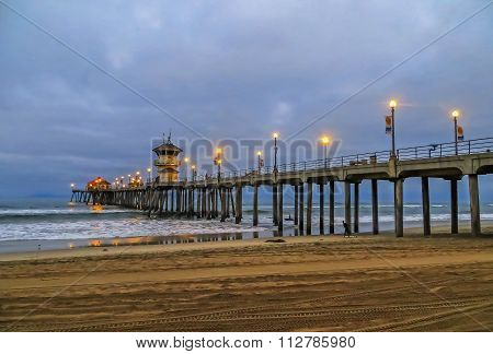 Dawn at Huntington Beach Pier - California