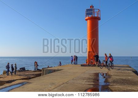 Red lighthouse, located at Riga sea port