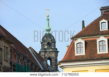 Roofs Of Keuzstrasse Street With Kreuzkirche Church In Dresden, Germany.