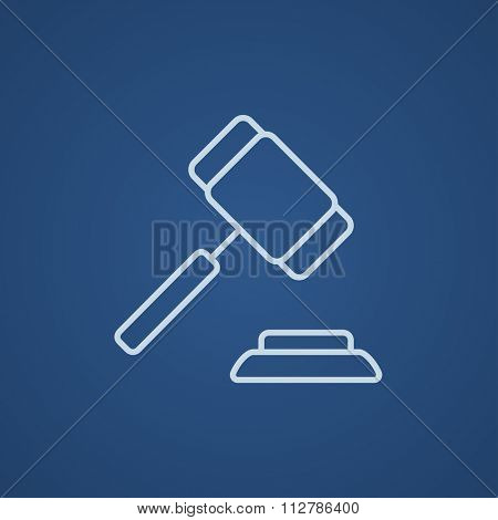 Auction gavel line icon for web, mobile and infographics. Vector light blue icon isolated on blue background.