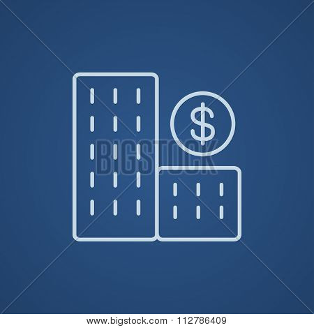 Condominium with dollar symbol line icon for web, mobile and infographics. Vector light blue icon isolated on blue background.