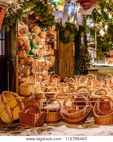 Straw basket souvenirs in Riga, Latvia during Christmas night