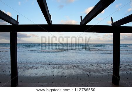 Framing Low Tide At A Beach Resort In Southern California