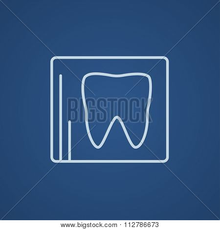 X-ray of the tooth line icon for web, mobile and infographics. Vector light blue icon isolated on blue background.
