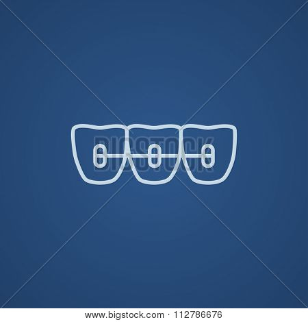 Orthodontic braces line icon for web, mobile and infographics. Vector light blue icon isolated on blue background.