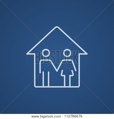 Family house line icon for web, mobile and infographics. Vector light blue icon isolated on blue background.