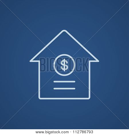 House with dollar symbol line icon for web, mobile and infographics. Vector light blue icon isolated on blue background.