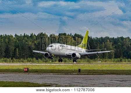 Air Baltic Airlines Boeing-747 leaving Riga International Airport Latvia