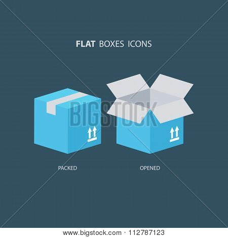 Flat boxes icons set. Carton package box icons.