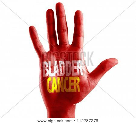 Bladder Cancer written on hand isolated on white background