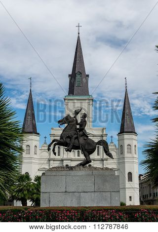New Orleans Saint Louis Cathedral with Andrew Jackson Statue