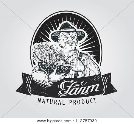 Fresh vegetables, food vector logo design template. Gardening, horticulture or farm, crops icon