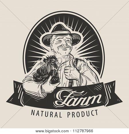 Farm vector logo design template. Farmer, farming or chicken farm icon