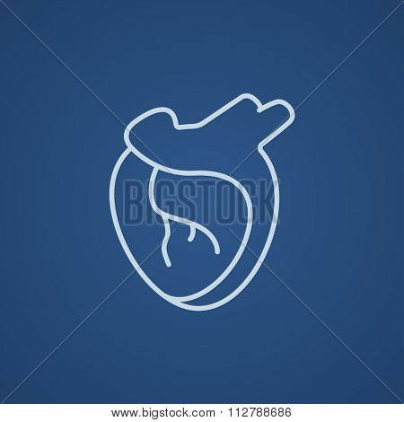 Heart line icon for web, mobile and infographics. Vector light blue icon isolated on blue background.