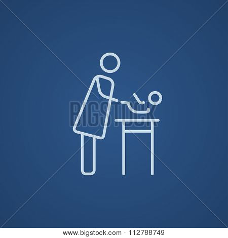 Mother taking care of the baby line icon for web, mobile and infographics. Vector light blue icon isolated on blue background.