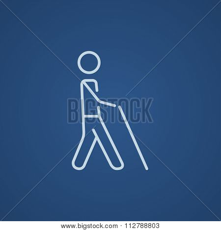Blind walking man with a stick line icon for web, mobile and infographics. Vector light blue icon isolated on blue background.