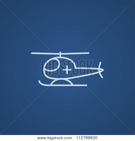 Air ambulance line icon for web, mobile and infographics. Vector light blue icon isolated on blue background.