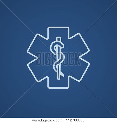 Medical symbol line icon for web, mobile and infographics. Vector light blue icon isolated on blue background.