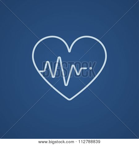 Heart symbol with cardiogram line icon for web, mobile and infographics. Vector light blue icon isolated on blue background.