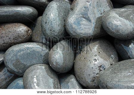 Wet stones in the spray