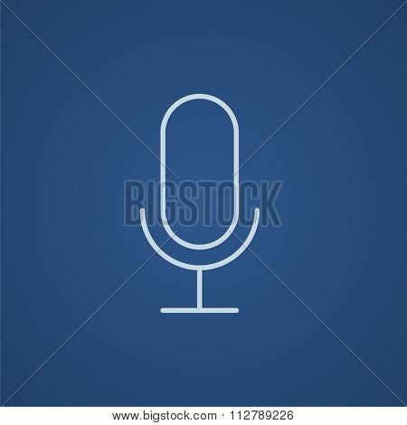 Retro microphone line icon for web, mobile and infographics. Vector light blue icon isolated on blue background.