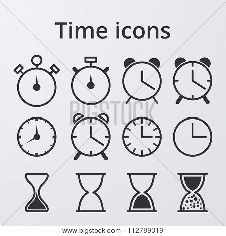 Stock Vector Clock set icons
