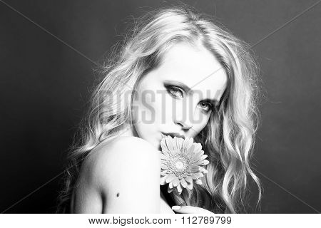 Sexy Woman With Flower