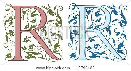 Vintage initials letter R.