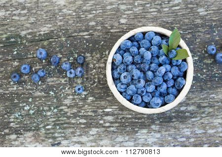 Blueberries pot on wooden background