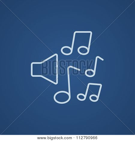 Loudspeakers with music notes line icon for web, mobile and infographics. Vector light blue icon isolated on blue background.