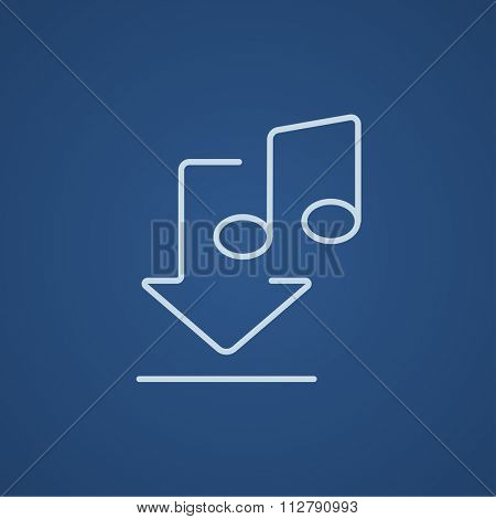 Download music line icon for web, mobile and infographics. Vector light blue icon isolated on blue background.