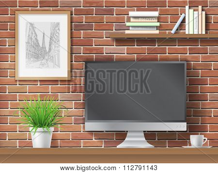 work table on brick wall background
