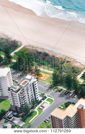 Residential Area In Front Of A Beach