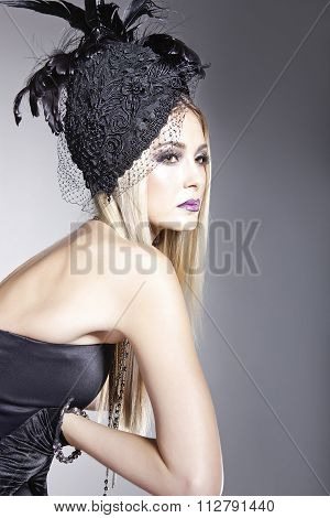 Stylish Lady Wearing A Hat With Veil