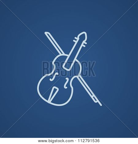 Violin with bow line icon for web, mobile and infographics. Vector light blue icon isolated on blue background.