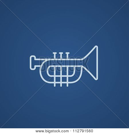 Trumpet line icon for web, mobile and infographics. Vector light blue icon isolated on blue background.