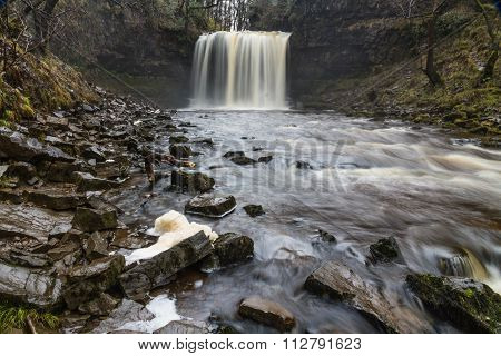 Sgwd Yr Eira Waterfall. On The River Afon Hepste South Wales, Uk Winter.