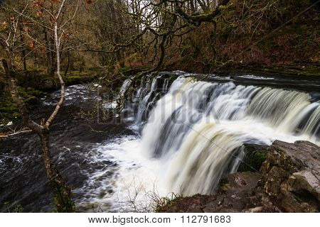 Sgwd Y Pannwr Waterfall. On The River Afon Mellte South Wales, Uk Winter.