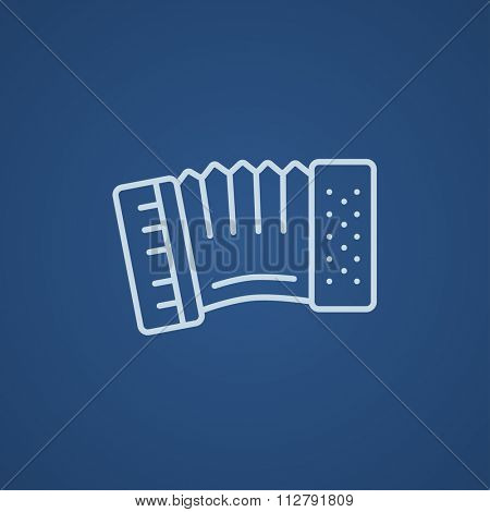 Accordion line icon for web, mobile and infographics. Vector light blue icon isolated on blue background.