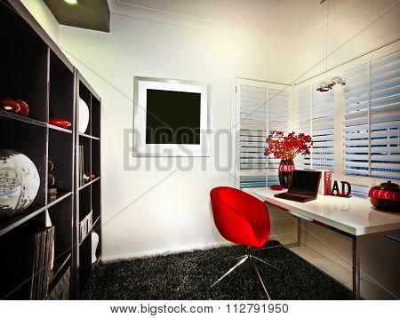 A Study Room With Window And Book Shelves And A Laptop Placed On A Table