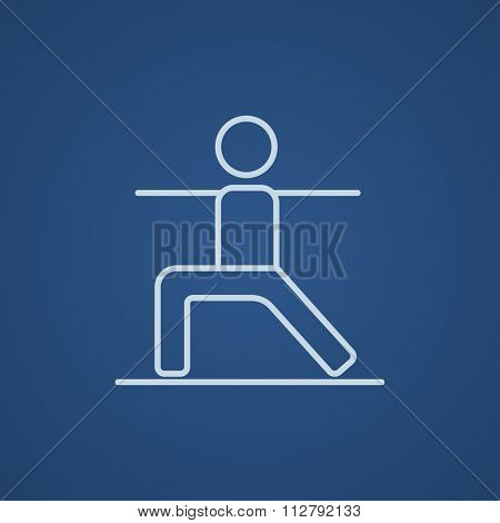 Man in the virabhadrasana II pose line icon for web, mobile and infographics. Vector light blue icon isolated on blue background.