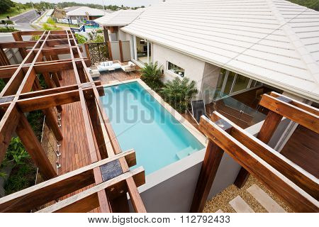 A Top View Of House Waterpool