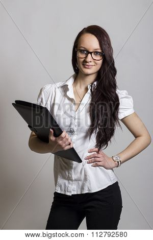 Beautiful Girl With Leather Folder