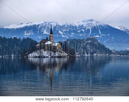 Dramatic view over lake Bled